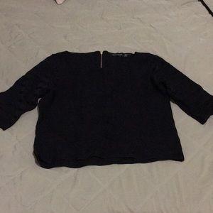 Black ribbed short sleeve sweater